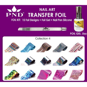 PND Transfer Foil Kit - 15 Designs FoilGel + Nail Pen Silicone Collection #4 ()