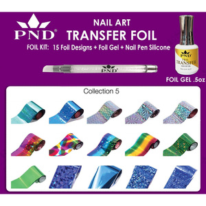 PND Transfer Foil Kit - 15 Designs FoilGel + Nail Pen Silicone Collection #5 ()