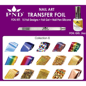 PND Transfer Foil Kit - 15 Designs FoilGel + Nail Pen Silicone Collection #6 ()