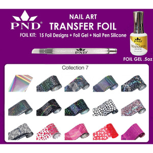 PND Transfer Foil Kit - 15 Designs FoilGel + Nail Pen Silicone Collection #7 ()