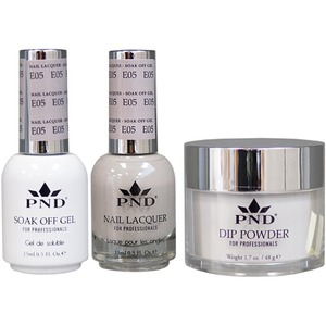 PND Combo Pack - 3-in-1 Matching | 1 Gel Polish 0.5 oz. + 1 Lacquer 0.5 oz. + 1 Dipping Powder 1.7 oz. in Matching Colors Color #E05 ()