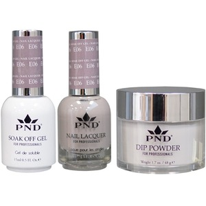 PND Combo Pack - 3-in-1 Matching | 1 Gel Polish 0.5 oz. + 1 Lacquer 0.5 oz. + 1 Dipping Powder 1.7 oz. in Matching Colors Color #E06 ()
