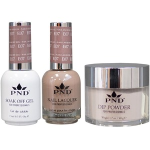 PND Combo Pack - 3-in-1 Matching | 1 Gel Polish 0.5 oz. + 1 Lacquer 0.5 oz. + 1 Dipping Powder 1.7 oz. in Matching Colors Color #E07 ()