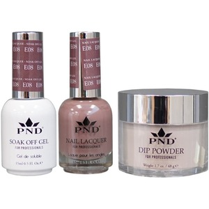 PND Combo Pack - 3-in-1 Matching | 1 Gel Polish 0.5 oz. + 1 Lacquer 0.5 oz. + 1 Dipping Powder 1.7 oz. in Matching Colors Color #E08 ()