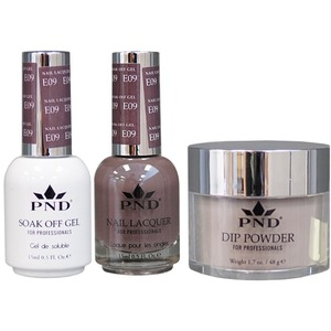 PND Combo Pack - 3-in-1 Matching | 1 Gel Polish 0.5 oz. + 1 Lacquer 0.5 oz. + 1 Dipping Powder 1.7 oz. in Matching Colors Color #E09 ()