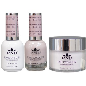 PND Combo Pack - 3-in-1 Matching | 1 Gel Polish 0.5 oz. + 1 Lacquer 0.5 oz. + 1 Dipping Powder 1.7 oz. in Matching Colors Color #E11 ()