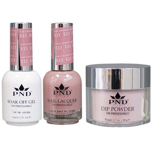 PND Combo Pack - 3-in-1 Matching | 1 Gel Polish 0.5 oz. + 1 Lacquer 0.5 oz. + 1 Dipping Powder 1.7 oz. in Matching Colors Color #E13 ()