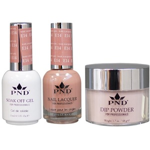 PND Combo Pack - 3-in-1 Matching | 1 Gel Polish 0.5 oz. + 1 Lacquer 0.5 oz. + 1 Dipping Powder 1.7 oz. in Matching Colors Color #E14 ()