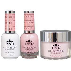 PND Combo Pack - 3-in-1 Matching | 1 Gel Polish 0.5 oz. + 1 Lacquer 0.5 oz. + 1 Dipping Powder 1.7 oz. in Matching Colors Color #E15 ()