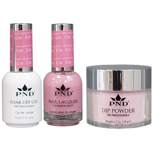 PND Combo Pack - 3-in-1 Matching | 1 Gel Polish 0.5 oz. + 1 Lacquer 0.5 oz. + 1 Dipping Powder 1.7 oz. in Matching Colors Color #E16 ()