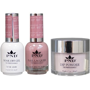 PND Combo Pack - 3-in-1 Matching | 1 Gel Polish 0.5 oz. + 1 Lacquer 0.5 oz. + 1 Dipping Powder 1.7 oz. in Matching Colors Color #E17 ()
