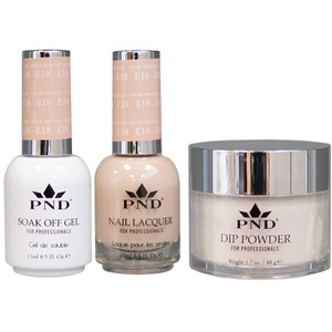 PND Combo Pack - 3-in-1 Matching | 1 Gel Polish 0.5 oz. + 1 Lacquer 0.5 oz. + 1 Dipping Powder 1.7 oz. in Matching Colors Color #E18 ()