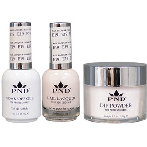 PND Combo Pack - 3-in-1 Matching | 1 Gel Polish 0.5 oz. + 1 Lacquer 0.5 oz. + 1 Dipping Powder 1.7 oz. in Matching Colors Color #E19 ()