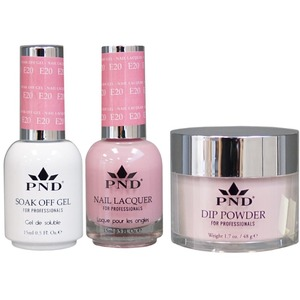 PND Combo Pack - 3-in-1 Matching | 1 Gel Polish 0.5 oz. + 1 Lacquer 0.5 oz. + 1 Dipping Powder 1.7 oz. in Matching Colors Color #E20 ()