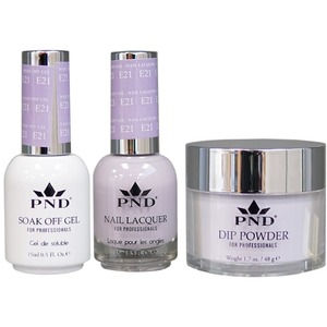 PND Combo Pack - 3-in-1 Matching | 1 Gel Polish 0.5 oz. + 1 Lacquer 0.5 oz. + 1 Dipping Powder 1.7 oz. in Matching Colors Color #E21 ()