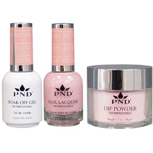PND Combo Pack - 3-in-1 Matching | 1 Gel Polish 0.5 oz. + 1 Lacquer 0.5 oz. + 1 Dipping Powder 1.7 oz. in Matching Colors Color #E22 ()