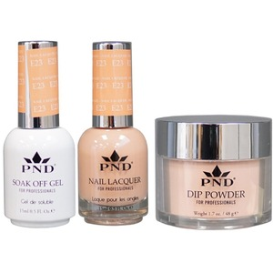 PND Combo Pack - 3-in-1 Matching | 1 Gel Polish 0.5 oz. + 1 Lacquer 0.5 oz. + 1 Dipping Powder 1.7 oz. in Matching Colors Color #E23 ()