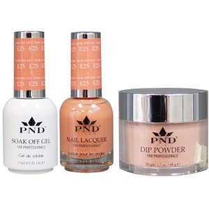 PND Combo Pack - 3-in-1 Matching | 1 Gel Polish 0.5 oz. + 1 Lacquer 0.5 oz. + 1 Dipping Powder 1.7 oz. in Matching Colors Color #E25 ()
