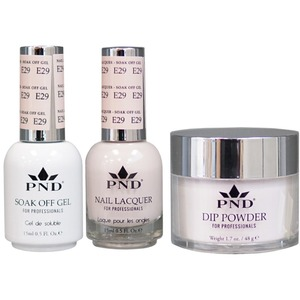 PND Combo Pack - 3-in-1 Matching | 1 Gel Polish 0.5 oz. + 1 Lacquer 0.5 oz. + 1 Dipping Powder 1.7 oz. in Matching Colors Color #E29 ()