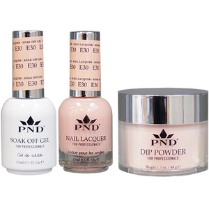 PND Combo Pack - 3-in-1 Matching | 1 Gel Polish 0.5 oz. + 1 Lacquer 0.5 oz. + 1 Dipping Powder 1.7 oz. in Matching Colors Color #E30 ()