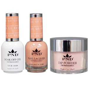 PND Combo Pack - 3-in-1 Matching | 1 Gel Polish 0.5 oz. + 1 Lacquer 0.5 oz. + 1 Dipping Powder 1.7 oz. in Matching Colors Color #E31 ()