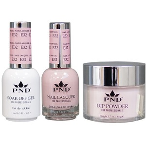 PND Combo Pack - 3-in-1 Matching | 1 Gel Polish 0.5 oz. + 1 Lacquer 0.5 oz. + 1 Dipping Powder 1.7 oz. in Matching Colors Color #E32 ()