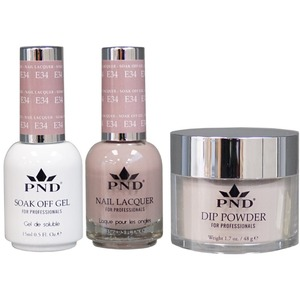 PND Combo Pack - 3-in-1 Matching | 1 Gel Polish 0.5 oz. + 1 Lacquer 0.5 oz. + 1 Dipping Powder 1.7 oz. in Matching Colors Color #E34 ()