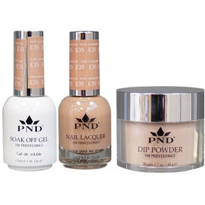 PND Combo Pack - 3-in-1 Matching | 1 Gel Polish 0.5 oz. + 1 Lacquer 0.5 oz. + 1 Dipping Powder 1.7 oz. in Matching Colors Color #E35 ()