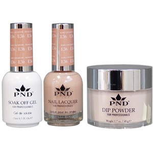 PND Combo Pack - 3-in-1 Matching | 1 Gel Polish 0.5 oz. + 1 Lacquer 0.5 oz. + 1 Dipping Powder 1.7 oz. in Matching Colors Color #E36 ()