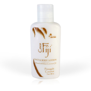 Pineapple Coconut Face & Body Lotion Infused with Raw Coconut Oil 3 oz. Case of 20 Bottles by Organic Fiji ()