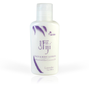 Lavender Face & Body Lotion Infused with Raw Coconut Oil 3 oz. Case of 20 Bottles by Organic Fiji ()