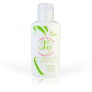 Tea Tree Spearmint Face & Body Lotion Infused with Raw Coconut Oil 3 oz. Case of 20 Bottles by Organic Fiji ()