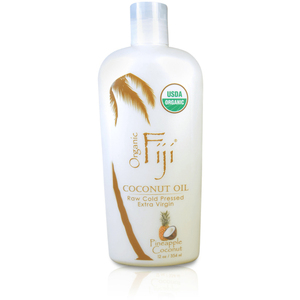 Pineapple Coconut Certified Organic Coconut Oil for Body & Hair 12 oz. Case of 8 Bottles by Organic Fiji ()