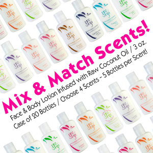 Mix & Match Scents! Face & Body Lotion Infused with Raw Coconut Oil 3 oz. Case of 20 Bottles Choose 4 Scents - 5 Bottles per Scent! by Organic Fiji ()