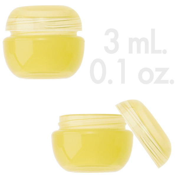 Lemon Yellow Beauty Pot with Lid 0.1 oz. - 3mL. 1000 Count (29852 X 1000 + 29853 X 1000)