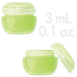 Lime Green Beauty Pot with Lid 0.1 oz. - 3mL. 1000 Count (29854 X 1000 + 29855 X 1000)