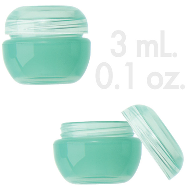 Teal Beauty Pot with Lid 0.1 oz. - 3mL. 1000 Count (29858 X 1000 + 29859 X 1000)