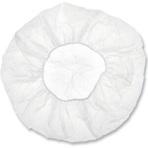 "Disposable Bouffant Facial Cap - White - 21"" 2000 Pack (92100 X 20)"