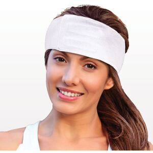 "Stretch Cotton Terry Headband with Velcro - White - 3"" x 26"" 48 Pack (505610 X 2)"