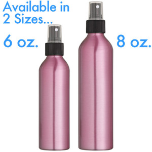 Pink Aluminum Bottle and Black Sprayer with Clear Overcap 8 oz. (240 mL.) 36 Pack (29799 X 12)