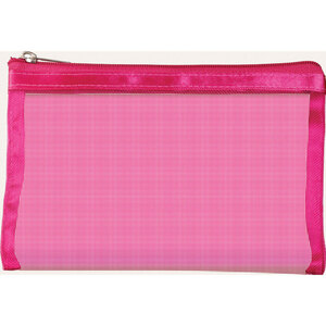 "Simply Mesh - Small Pouch with Zipper Closure - Pink 6.5"" x 4"" Pack of 48 - Individually Wrapped (59925 X 48)"