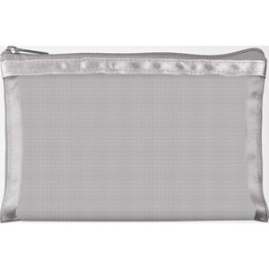 "Simply Mesh - Small Pouch with Zipper Closure - Silver 6.5"" x 4"" Pack of 48 - Individually Wrapped (59926 X 48)"
