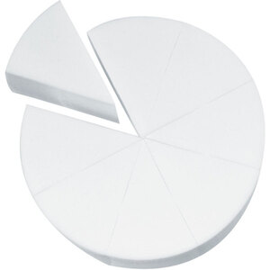 Latex-Free Makeup Wedge Sponge Wheels - White 8 Wedges per Wheel X 80 Wheels = 640 Sponge Wedges (20125 X 80)