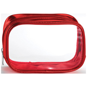 "Clear Sided Metallic Cosmetic Bag - Red - 6"" x 2"" x 3"" Pack of 24 (59933 X 24)"