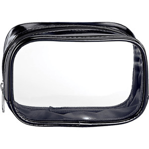 "Clear Sided Metallic Cosmetic Bag - Black - 6"" x 2"" x 3"" Pack of 24 (59934 X 24)"