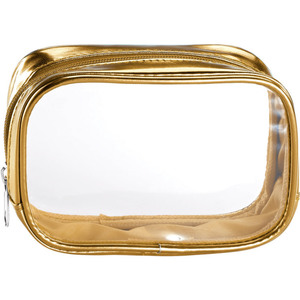 "Clear Sided Metallic Cosmetic Bag - Gold - 6"" x 2"" x 3"" Pack of 24 (59937 X 24)"