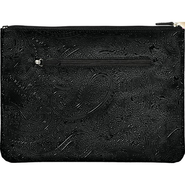 "Large Zippered Clutch Bag - Black Paisley - 12.5"" x 9.125"" Case of 14 Clutches (599994 X 14)"