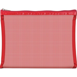 "Simply Mesh - Large Pouch with Zipper Closure - Red 9"" x 6.5"" Pack of 24 - Individually Wrapped (59930 X 24)"
