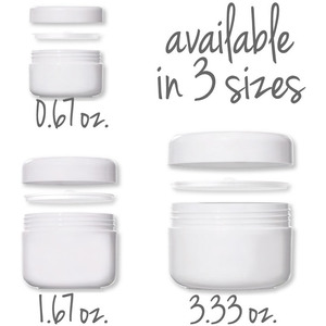 White Polypropylene Sample Jar with Cap + Clear Disc Liner 100 mL. - 3.33 oz. Case of 150 (29981 X 150)