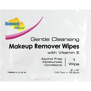 Diamond Wipes Gentle Cleansing Makeup Remover Wipes 100 per Bag X 5 Bags = 500 Individually Packaged Wipes (93510 X 5)